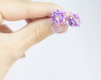FLOWERS STUD EARRINGS - lilac earrings - polymer clay earrings - tiny earrings - cute earrings - summer earrings - miniature flower earrings