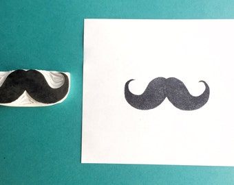 Moustache stamp, moustache hand carved stamp, moustache rubber stamp, handmade stamp, card making supplies