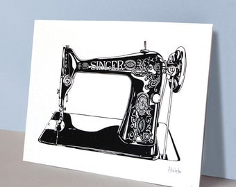 Singer sewing machine (Limited edition A3 screenprint) - Vintage style