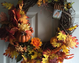 Fall Wreath, Autumn Wreath, Fall Decor, Autumn Door Decor, Thanksgiving Wreath, Pumpkin Wreath
