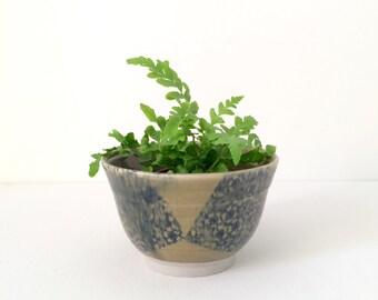 Handmade ceramic bowl, stoneware, olive green, japanese tissue transfer paper #EarthandClays