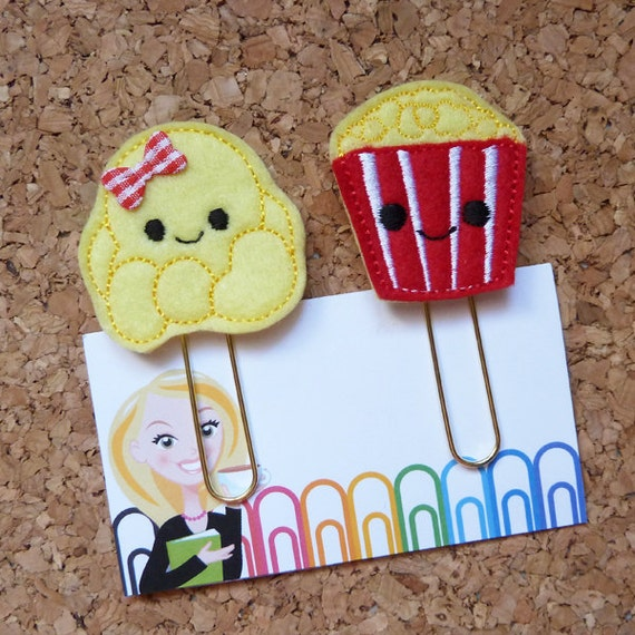 Felt Popcorn and Bucket Paper Clip | Bookmarks | Planner Clip |Organizer | Calendar | Planner Accessory | 366