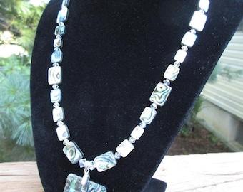 Abalone Checker Board necklace set