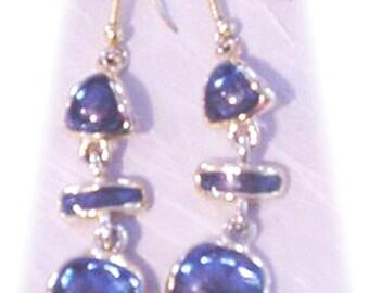 Dangle Earrings Dark Blue and Gold