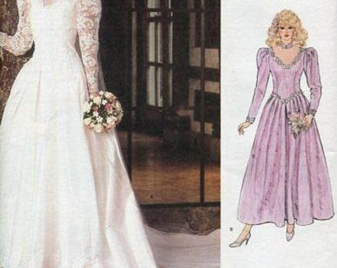 FREE US SHIP Vintage Retro 1980's 80's Vogue 1092 Bridal Wedding Dress Petticoat Train Gown Bridesmaid 1985 Uncut Size 6 8  Factory Folded