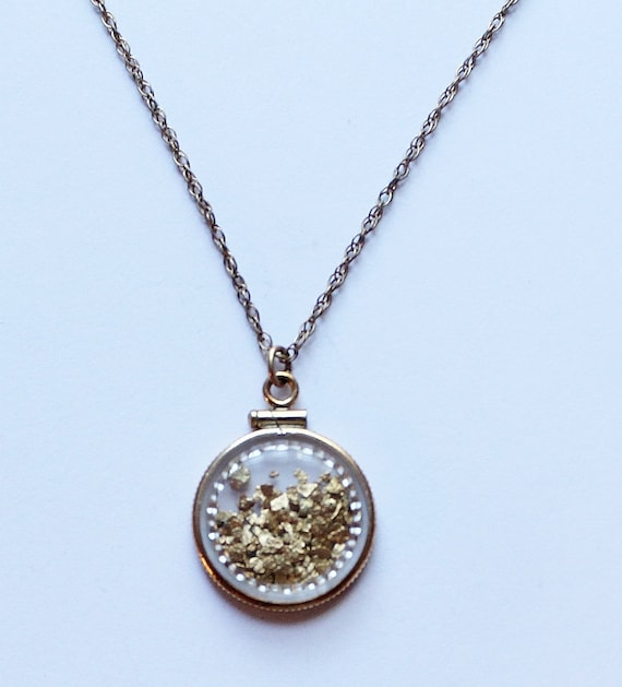 24k alaskan gold flake pendant necklace by paststore