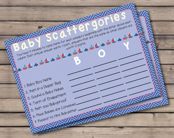 Baby Shower Scattergories Game, Nautical Theme, Sailing Theme, Sailboat theme, Anchor, Red, White, Blue, Print-at-Home, Shower Game