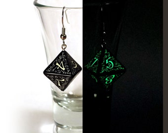 Glow-in-the-dark D8 Elvish Dice Earrings