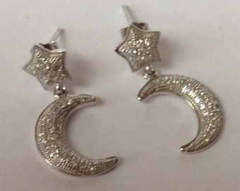 Unique Sterling Silver Crescent Moon and Star Earrings