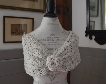 Handmade Crochet Cowl Scarf with Flower Button