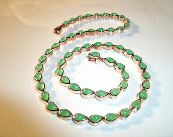 Rosé gold chain green Chrysoprase necklace, Chrysoprase jewelry, Rosé gold jewelry,.