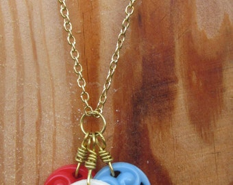 Vintage Button Charm Pendant with Gold Chain