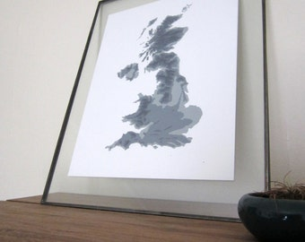 United Kingdom Topographic Map - Gray Shades on White
