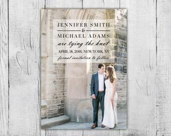 Save the Date Wedding Printable, Photo Save the Date Card, Custom Design Save the Date Print at Home