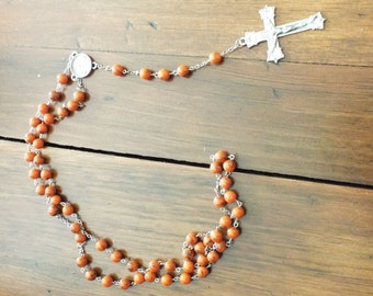 Orange beaded rosary