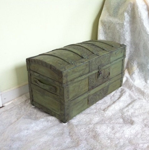Sold Out Antique Steamer Trunk Coffee Table Green Refurbished Vintage Large Chest