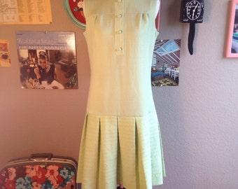 1960's Mod Mint Green Drop Waist Dress/ Size Small