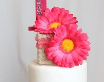 Burlap Pink Daisy 1st Birthday Cake Topper, overthetopcaketopper