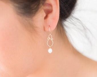 """Pearl """"S"""" Hoop Earrings, Pearl Dangle Gold Earring - for Her, byJTSjewelry"""