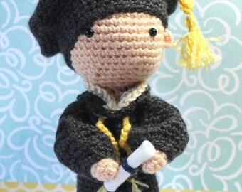 Crochet Amigurumi Cute Doctoral Graduate Dolls PDF Pattern Stuffed Toy Gift Graduation