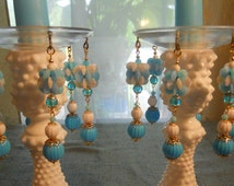 Dance in the Clouds, Upcycled Bobeches with Vintage Necklaces, Candle Wax Catchers