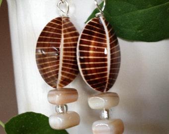 Shell Bead Dangle Earrings