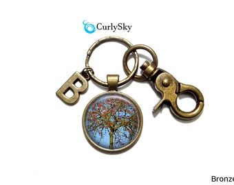 Berry Tree Keychain Antique Red Keychain Antique Red Keyring Berry Tree Accessory Red Berry Keychain Red Berry Keyring Antique Tree Keychain