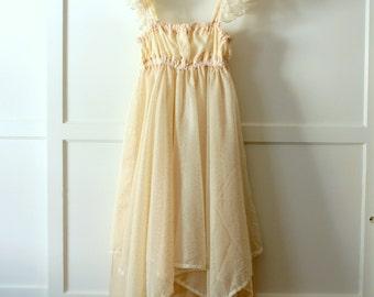 Handmade ballerina dress - gold chiffon, dots - sz M