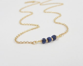 Birthstone Necklace - Select Your Gemstone - Sapphire Necklace - September birthstone
