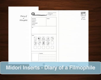 MIDORI Film Review Inserts, Printable Download Travel Notebook Journal, Movies Addict, Film Rating Critiques, To Watch List, Filmophile