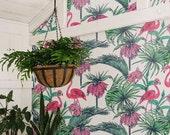 Flamingo & Bismarkia Wallpaper | Removable Wallpaper | Self Adhesive Wallpaper | Temporary Wallpaper | Wall Sticker | Wall Decal