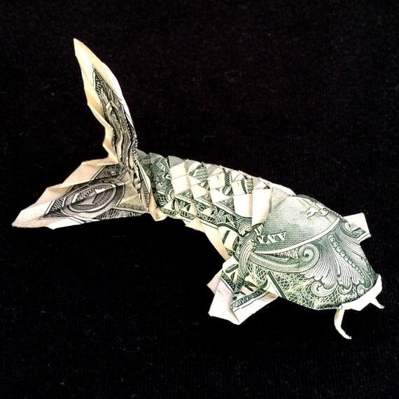 Money origami koi fish souvenir carp folded of real 1 for Dollar bill koi fish