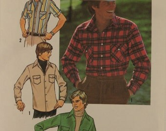 Simplicity 7698 Vintage Men's Shirt Sewing Pattern Size 42. Cut