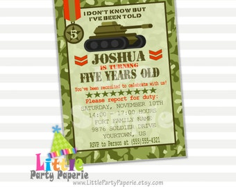 Army Birthday Invitation | Army Tank | Camouflage | Camo | Design 15025