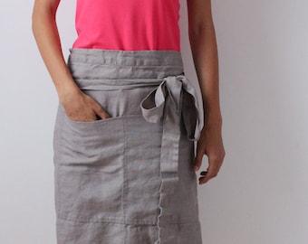 Cafe apron, linen apron with pockets, linen kitchen apron, linen cafe apron, chef linen apron, linen half apron