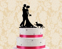 Wedding cake topper with cat-silhouette cake topper-rustic cake topper-modern cake topper-unqiue cake topper for wedding-modern cake topper