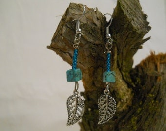 Turquoise Leaf Dangle Earrings