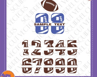Football Split Numbers 0-9 SVG DXF EPS Cutting files