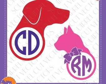 Pet Monogram Frame Dog and Cat SVG DXF EPS Cutting files