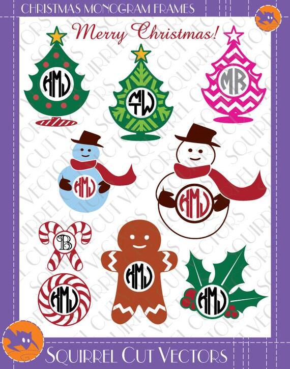Christmas Monogram Frames (Gingerbread man, snowman, chrismas tree ...