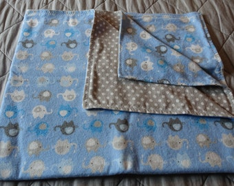 Baby Blanket - Grey and Blue Elephants