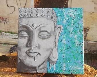 """Buddha Artpiece """"Chaotic Bliss"""" 12""""x12"""""""