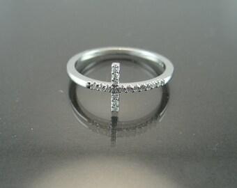 18K White Gold Sideways Cross Ring- 18K White Gold Diamond Pave Cross Ring- Simple White Gold Cross Ring- Minimalist Diamond Cross Ring