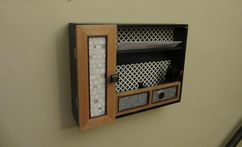 entryway organizer Oak wall mail organizer mail