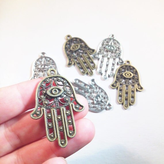 Large hamsa charm hamsa pendant large hamsa 5 charms like this item mozeypictures Image collections