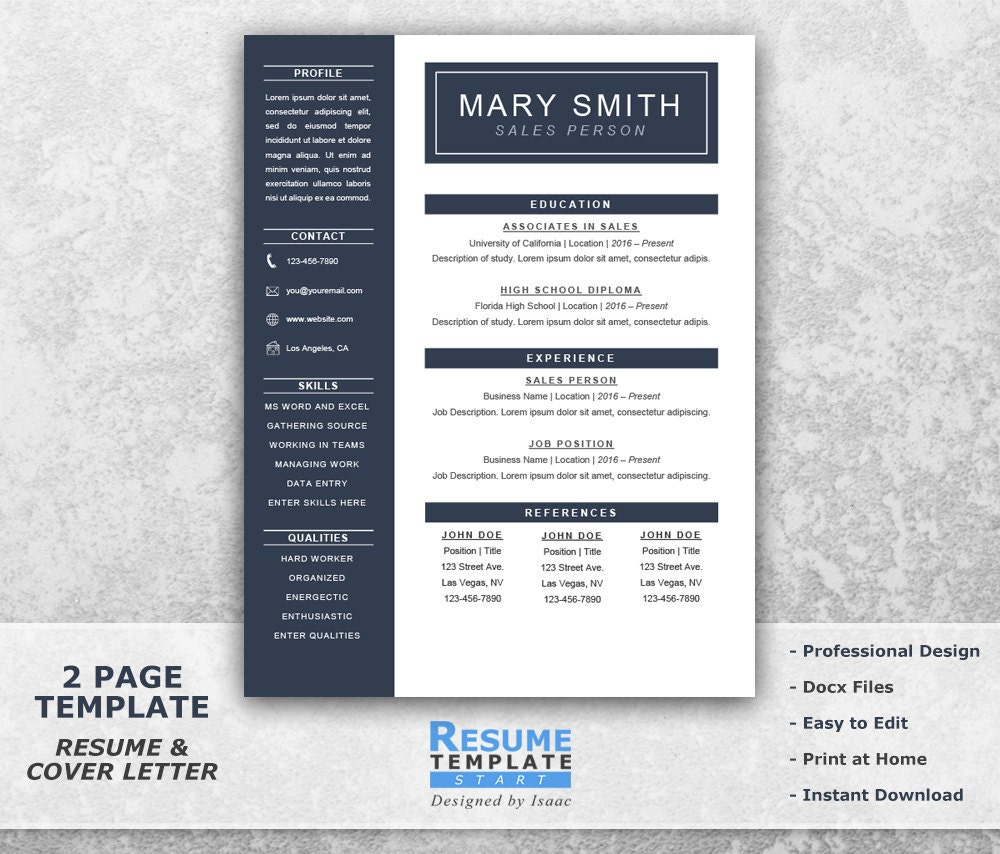 like this item - One Page Resume Template Word