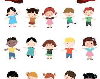 Happy Kids Children Boys Girls Digital Clip Art Baby Shower Nursery Decor Embellishments Printable Clipart Instant Download Commercial Use