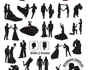 Bride and Groom Silhouettes Wedding Digital Clip Art Scrapbook Embellishment Classic Calligraphy Png Clipart Instant Download Commercial Use