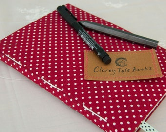 Red Polka Dot Notebook with Patterned Photo Pages A5