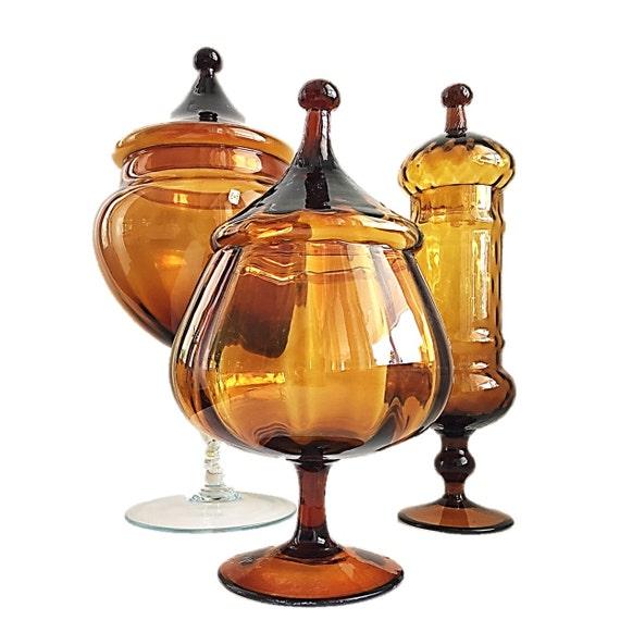 Italian Honey/Brown Circus Tent Apothecary Jar Collection